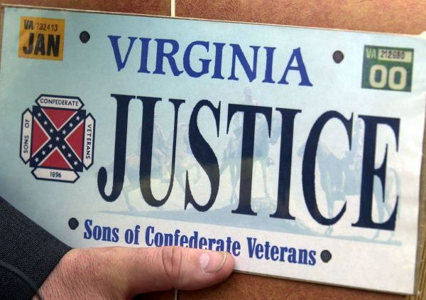 Virginia License Plate featuring Confederate flag_29518