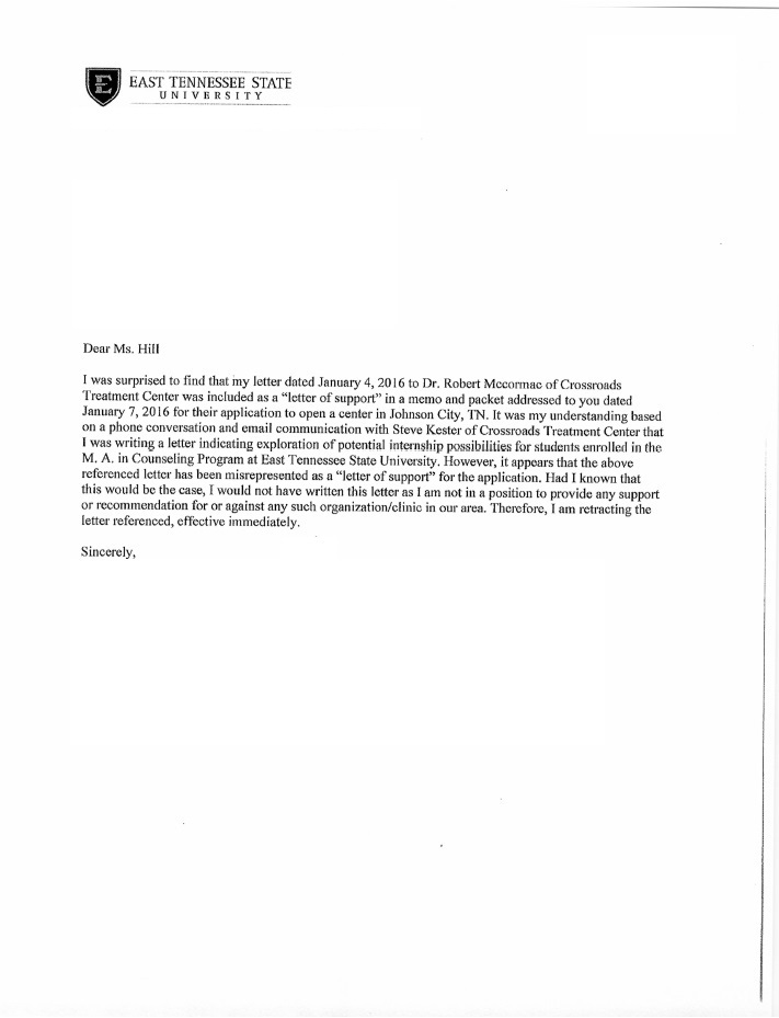 The retraction letter ETSU sent to the Tennessee HSDA, retracting the original letter.
