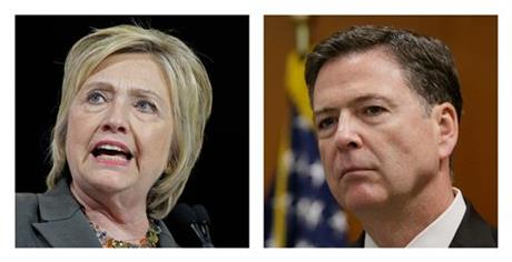 In this file photo combo, Democratic presidential candidate Hillary Clinton, left, and FBI Director James. Comey. (AP Photo_File)_177193