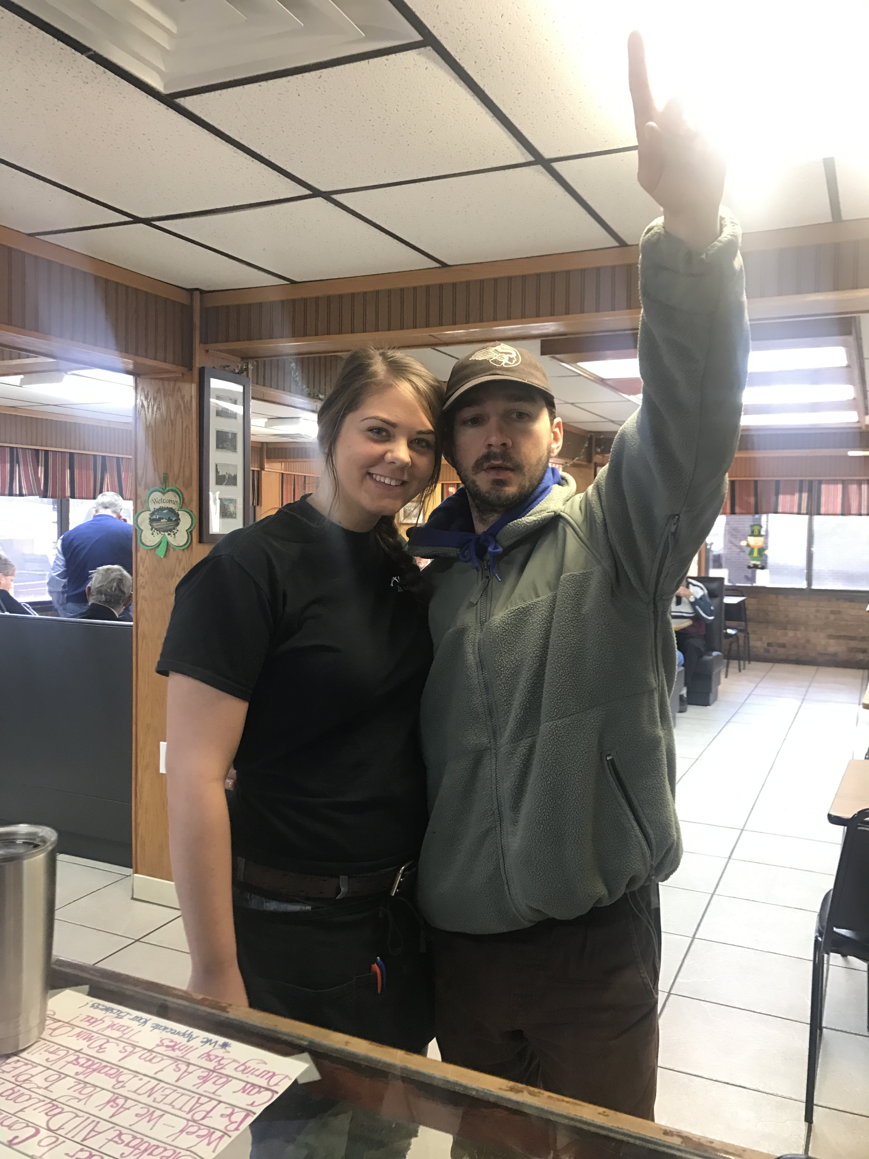 Aunt Bea's restaurant employees like Laiken Morrow (left) debated whether he was Shia LeBeouf.  When they asked, he said yes.