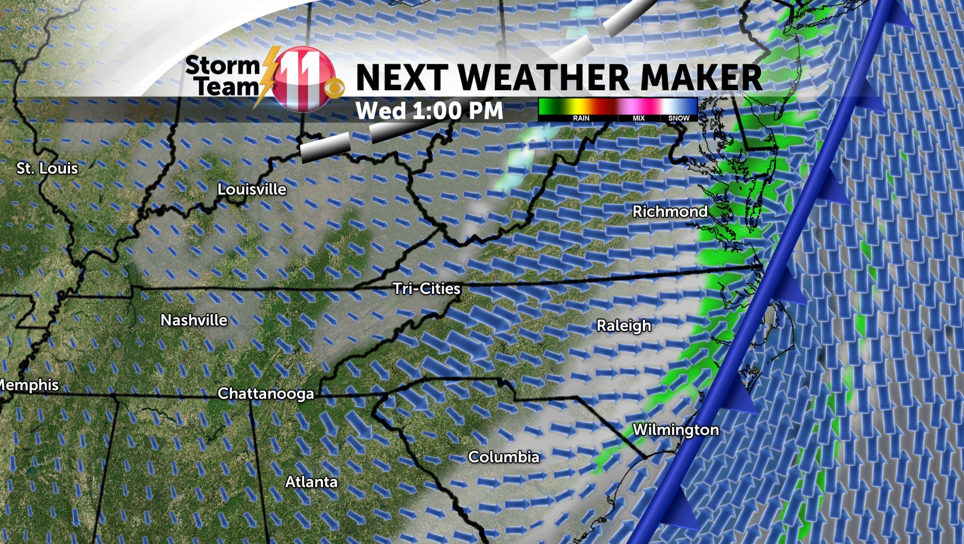 Mark's Weather Blog: Showers end tonight- Mild Tuesday