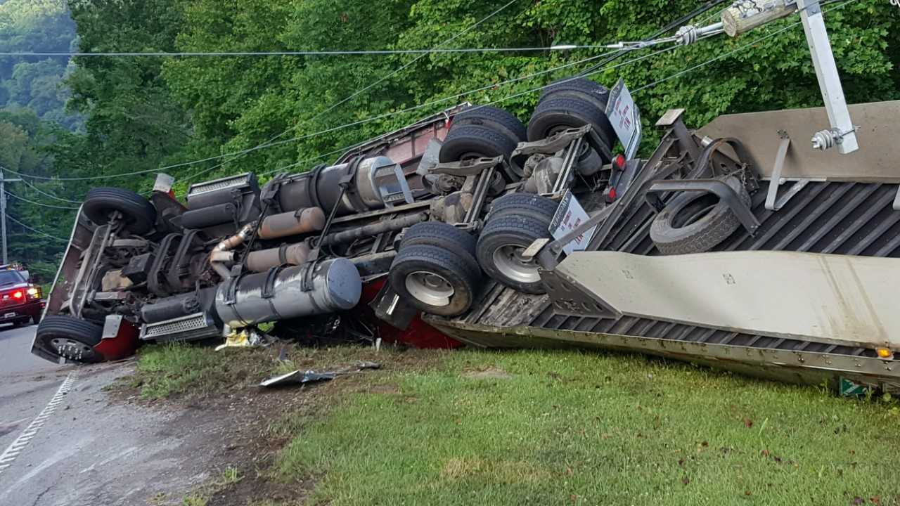 Semi-Truck rollover crash near Watauga Lake