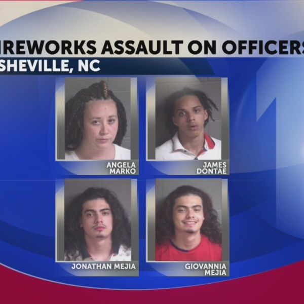 Asheville Police say 4 arrested for launching fireworks at firefighters, officers