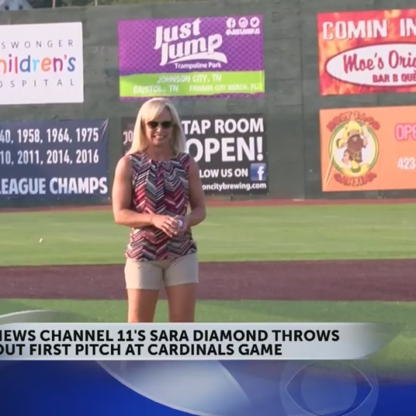News Channel 11's Sara Diamond throws out first pitch at Cardinals game