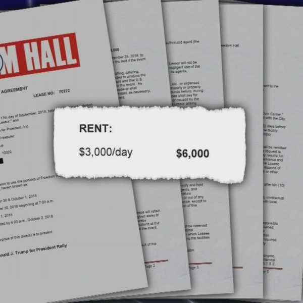 Document shows lease agreement for Freedom Hall Trump Rally