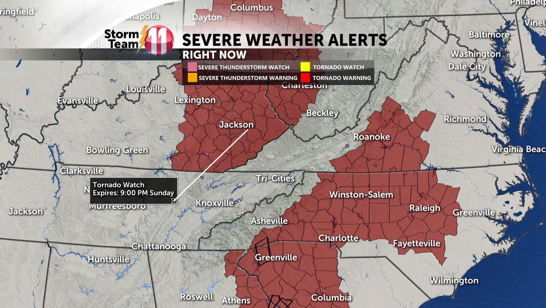 STORM TEAM 11: Severe thunderstorm watch in effect for the Tri-Cities
