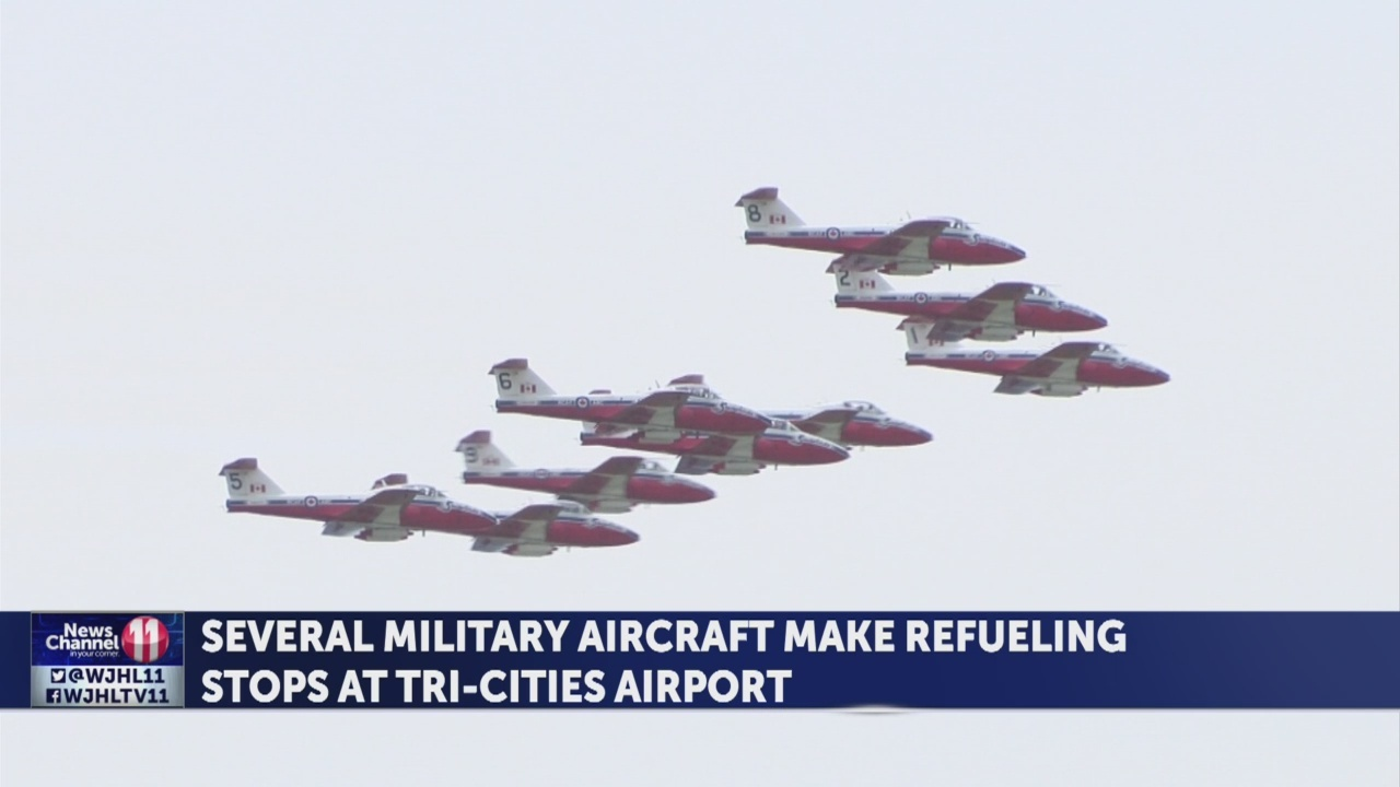 Military aircraft stop at TRI for refueling