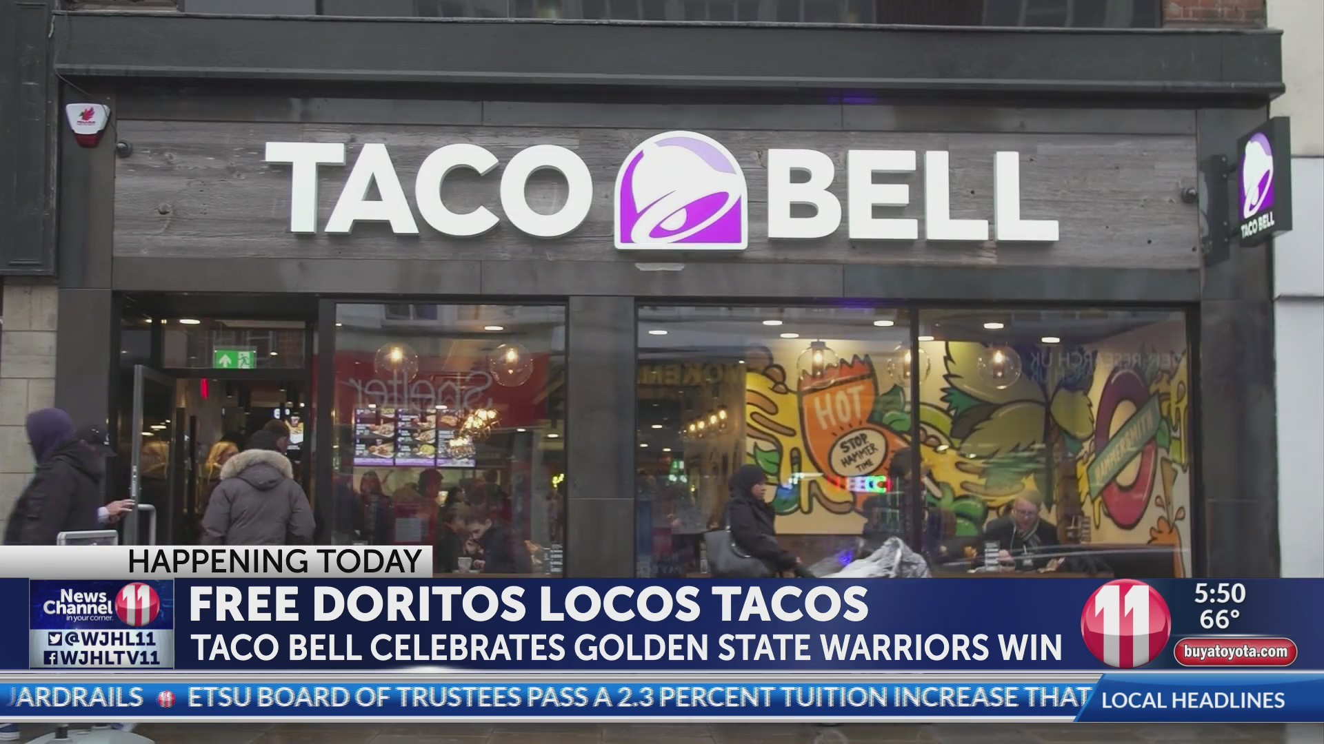 Taco Bell giving away free tacos Tuesday from 2:00 - 6:00 p.m. Tuesday