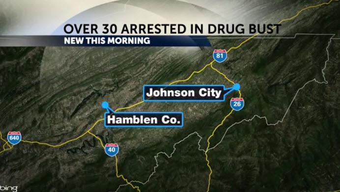 "Over 30 arrested in Hamblen County in ""Operation Bad News"" drug bust"
