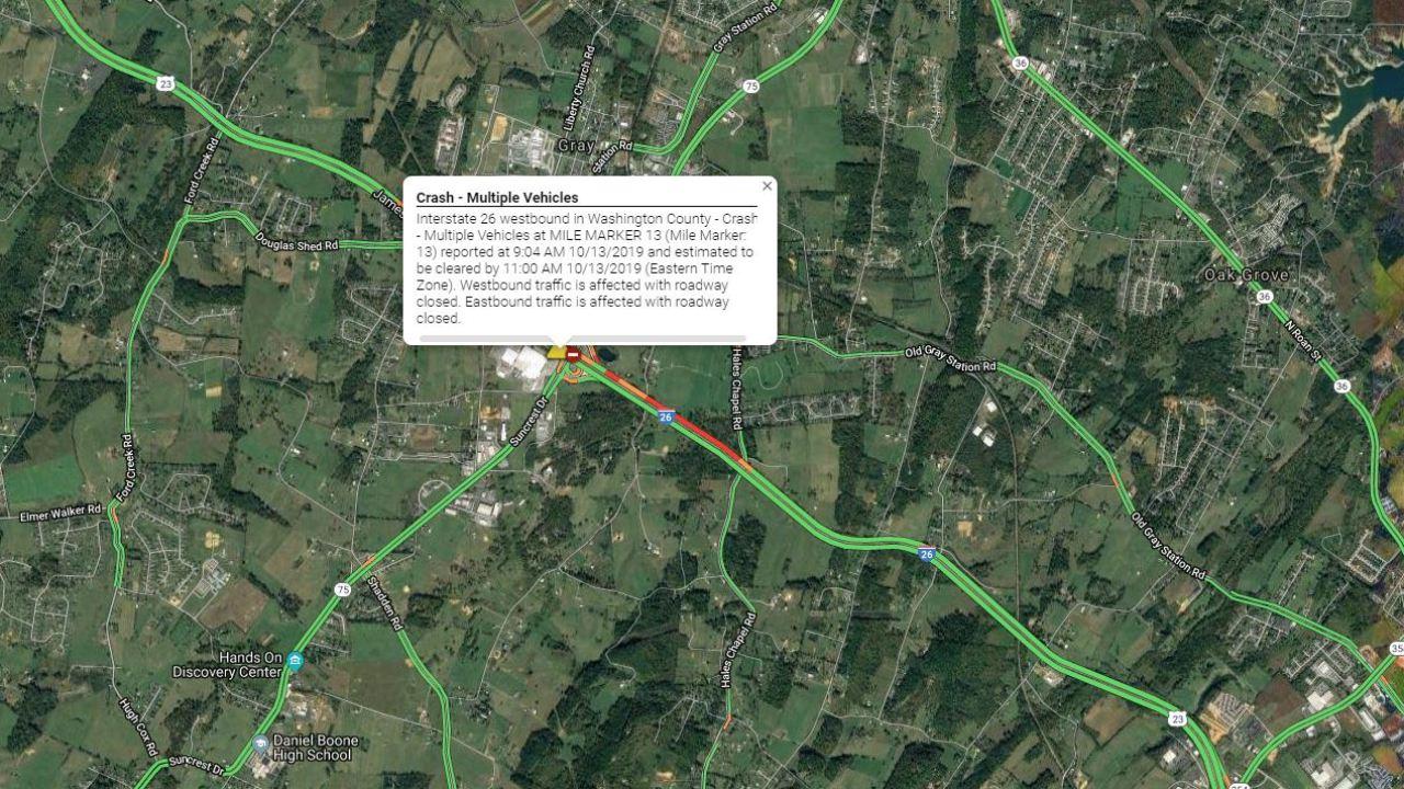 Traffic back to normal on portion of I26 after crash | WJHL ...